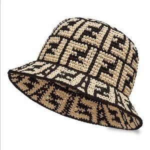 BRAND NEW W TAGS fendi logo raffia bucket hat